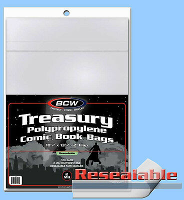BCW: TREASURY-COMIC Size RESEALABLE Bags:   2 Packs (100ct ea) *FREE SHIP in USA
