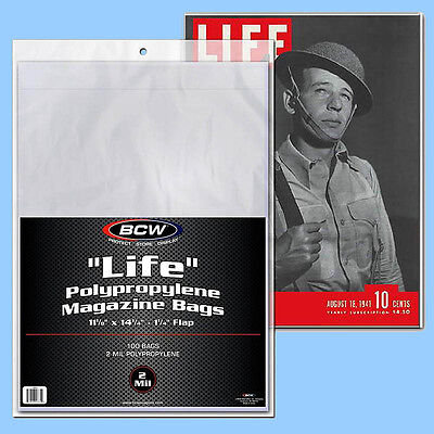 BCW: LIFE MAGAZINE Size Bags: 11 1/8 x 14¼ +flap 1 Pack (100ct) *FREE SHIP in US