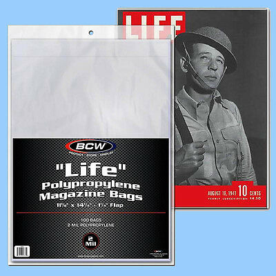 BCW: LIFE MAGAZINE Size Bags: 11 1/8 x 14¼ +flap 2 Pks (200ct) *FREE SHIP in USA