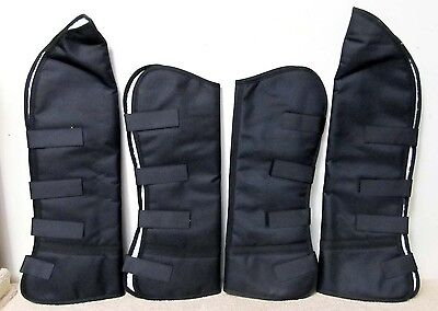 Set of Four Cordura Full Size Horse Shipping Boots BLACK Fleece Lining NEW Tack