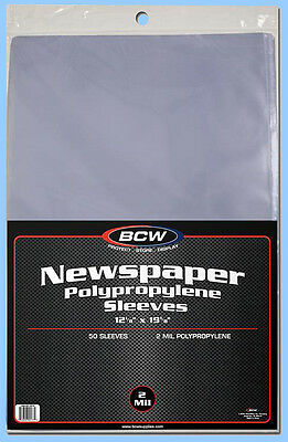 BCW: Polypro Sleeves: NEWSPAPER: Size 12x19: 1,000: 20 Packs (50 pk) CASE-LOT