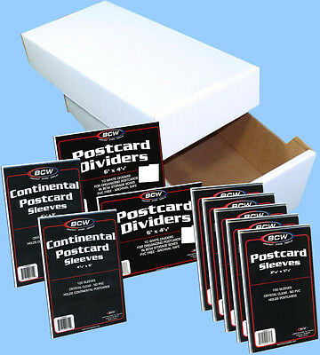 BCW: POSTCARD Collector Kit: Storage Box + 700 Sleeves + 20 Dividers FREE USA SH