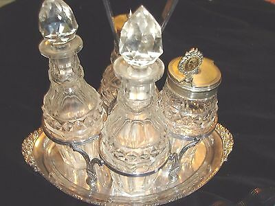 Vintage Glass And Silver Plated Condiment Set