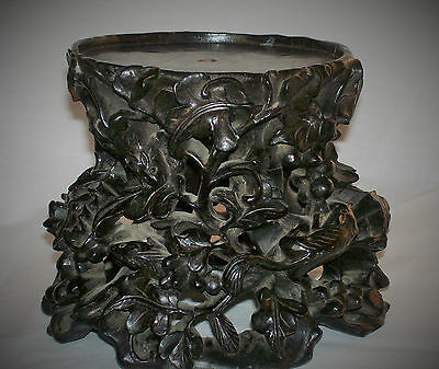 Outstanding Antique Chinese Carved Wooden Jade / Pot Stand Tree Rats Pierced 3D