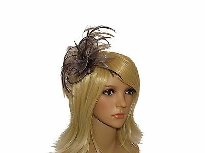 Beautiful Charcoal Grey Hair Fascinator Clip & Brooch Weddings Races Hat Ladies