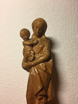 Antique Vintage Hand Carved Wood Virgin Mary Our Lady Madonna & Jesus Statue