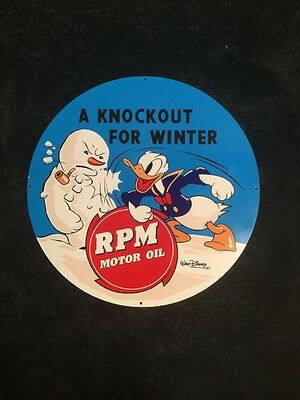 "Vintage Rpm Standard Oil Of California Donald Duck 19"" Porcelain Metal Gas Sign!"