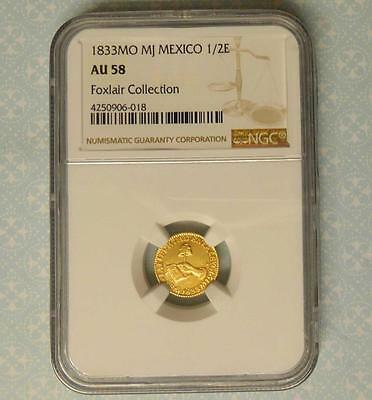 1833 Mo MJ Mexico Republic gold 1/2 Escudo NGC AU58 Foxlair Collection LOOK!!