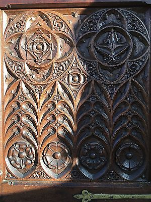 A Stunning thick massive Gothic Carved door panel in wood
