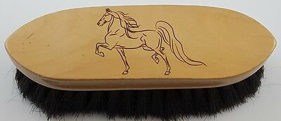 Wood handle soft finishing horse brush, laser engraved: Saddlebred, gaited