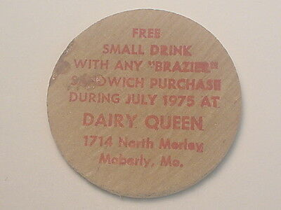 Moberly, MO Wooden Nickel Token - Dairy Queen