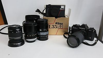 LOT of 4 Lenses 2 Cameras Nikon L35 Yashica FX-3 Super 2000 Canon Minolta AS IS