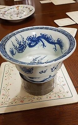 Antique Chinese Bowl blue and white hand painted with Dragon