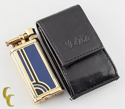 Dunhill Unique Manhattan Gold Finish with Blue & Black Lacquer w/Leather Case