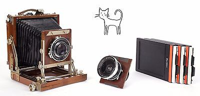 Nagaoka 4X5 ultralight field camera w/ 90mm + 150mm lenses + holders
