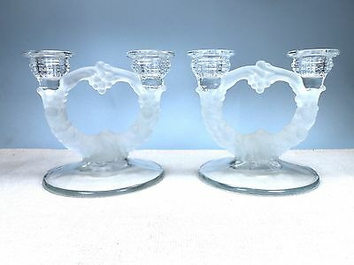 2 lite Frosted Depression Glass Candlesticks