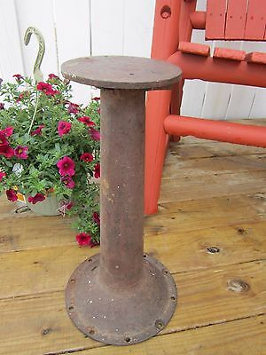 """Antique Vtg Cast Iron Base Table Chair Pedestal Stool Industrial Age 19.5"""" tall"""