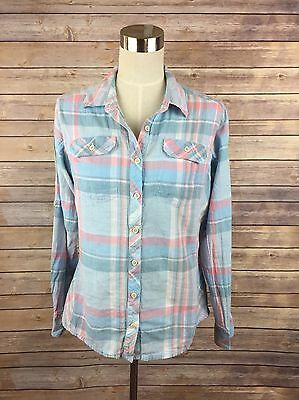 Columbia Women's Button Front Long Sleeve Pink Blue Plaid Top Size Large