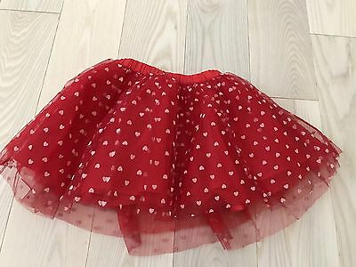 Gymboree Baby Toddler Girls Red Hearts Tutu Skirt Dress Size 2T