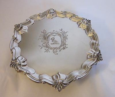 Vintage Silverplate Three Footed Dish Embossed with Bird & Flowers