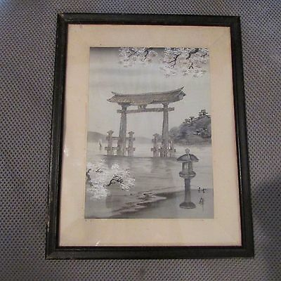 Antique Vintage Signed Japanese Silk Embroidery Art Picture - Old UNIDENTIFIED
