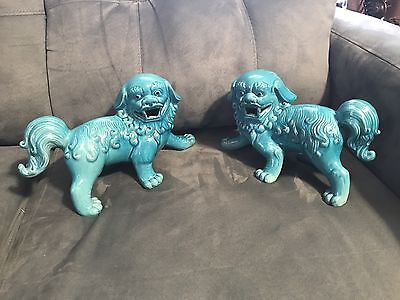 Pair of vintage Turquoise Foo Dogs Fu Dogs Chinese Lions Mint Condition