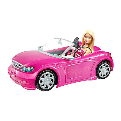 NEW super glam Barbie convertible Pink car and Doll Pack