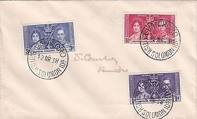 1937 Coronation set on 1938 cover with 'VANIKORO' cds tying each stamp ST249