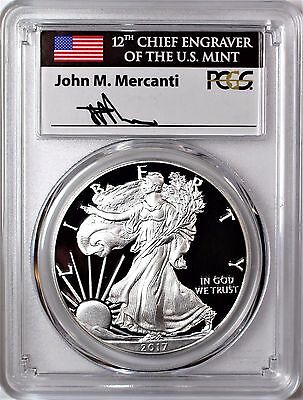 2017 S Proof Silver Eagle PCGS PR70 DCAM Mercanti First Day of Issue 1 of 1000