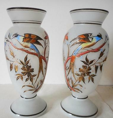 Pair of Victorian Bristol Glass Vases Hand Painted Raised Enamel Colors