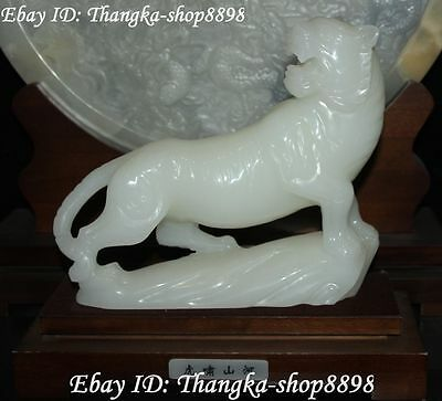 """10"""" Chinese Natural White Jade Carving Up Hill Zodiac Tiger Tigers Animal Statue"""