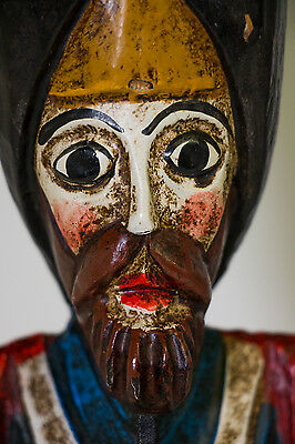 """Vintage Wooden Carved Painted Soldier Man Statue~Folk Art~Great Colors~18"""" Tall"""