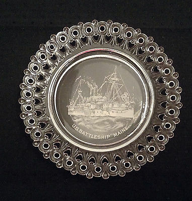 Antique U.S. Battleship MAINE Glass Plate