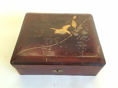SALE! Antique Japanese Lacquer Tea Caddy Box, Gold Leaf Bird, 19th C