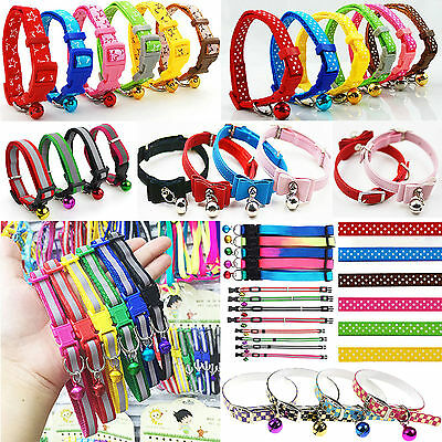 1 Pet Dog Puppy Cat Kitten Soft Glossy Reflective Collar Safety Buckle with Bell