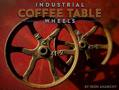 ORNATE IRON CART WHEEL PAIR, Vtg Antique Cast Metal Industrial Coffee Table