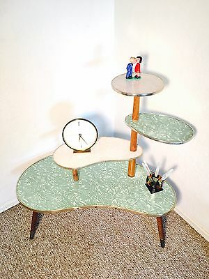 Mid Century Table Display German Plant Stand Kidney Side End Table Space Age