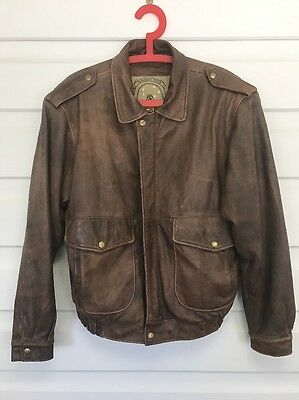 VINTAGE  DISTRESSED LEATHER Army Pilot BOMBER JACKET Size M/L TOP GUN