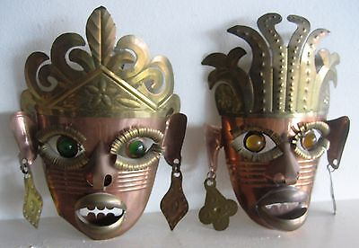 Pair of interesting Copper with Brass Mexican Masks, depicting Male / Female