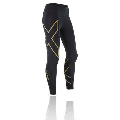 2XU Elite MCS G2 Womens Black Gold Compression Long Tights Bottoms Pants