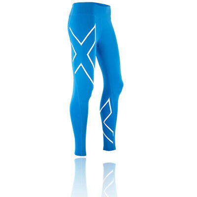 2XU Mid-Rise Womens Blue Compression Sports Long Tights Bottoms Pants