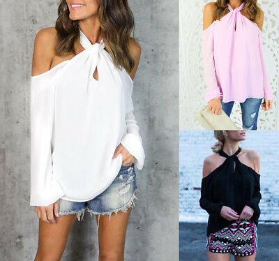 Women's Long Sleeve Off Shoulder T Shirt Blouse Fashion Casual Loose Tops Shirt
