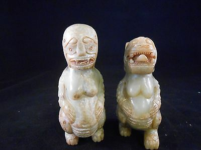 "Chinese Antique Jade Craving (1 pair) with mud inside 5 "" H"