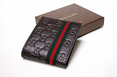 New Gucci Authentic Men's Brown GG Web Bifold Leather ID Wallet