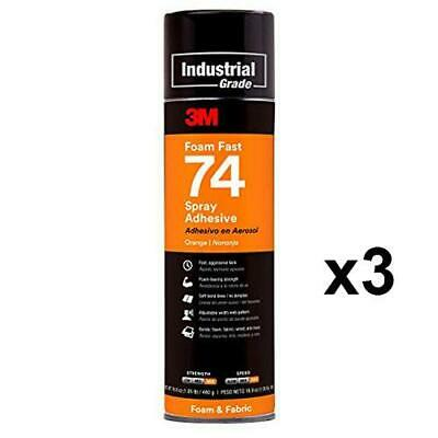 3M Foam Fast 74 Spray Adhesive Upholstery 499ml Instant Bonding Orange x 3