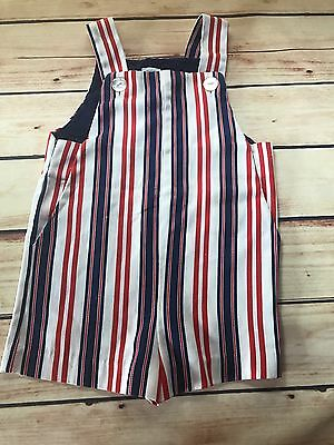 Vintage Buster Brown 2T Boys Girl 23-28 lbs Red White Blue Stripe Jumper Overall