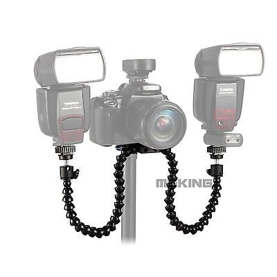 Flexible Dual Twin Arm Camera Flash Bracket Mount Holder fr Universal MACRO Shot