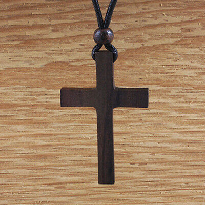 Wood Cross Necklace Christian Natural Mens Womens Pendant Adjustable Church