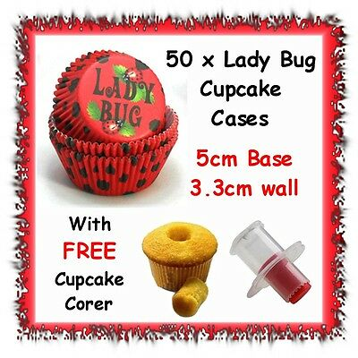 50 x lady bug cupcake cases liners - WITH FREE CORER - cup cake fondant ladybug