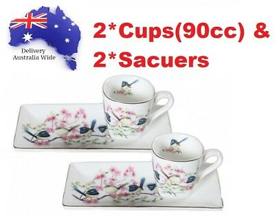 Fine Bone China Blue Wren Cup Set 90cc Cups Saucer Mothers Day Gift Mother's MUM